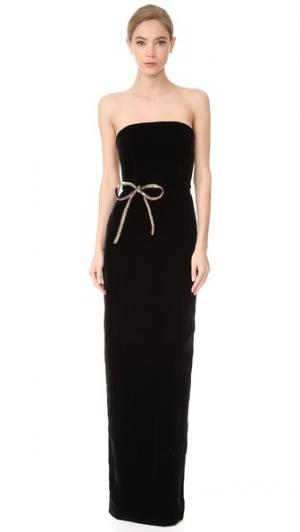 Длинное вечернее платье без бретелек Monique Lhuillier. Цвет: голубой