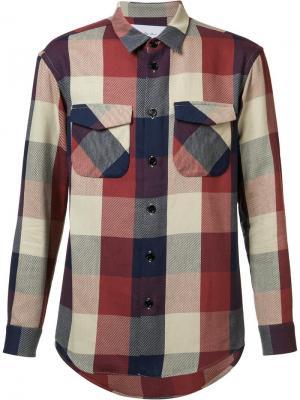 Рубашка с карманами клапанами Julien David. Цвет: красный
