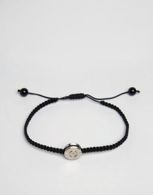 Love Bullets Черный браслет с серебристой подвеской Lovebullets. Цвет: черный