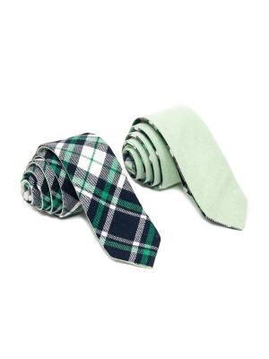 Галстук двухсторонний Churchill accessories. Цвет: черный, белый, зеленый, темно-зеленый