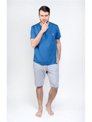 Домашний костюм Begood. Цвет: синий, лазурный, серый меланж
