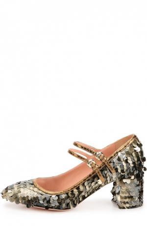 Туфли с пайетками на устойчивом каблуке Rochas. Цвет: золотой