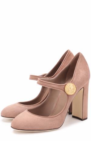 Замшевые туфли Vally на устойчивом каблуке Dolce & Gabbana. Цвет: пепельно-розовый