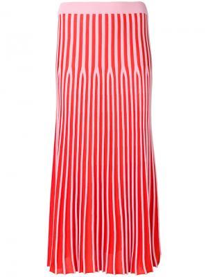 Полосатая плиссированная юбка Kenzo. Цвет: розовый и фиолетовый