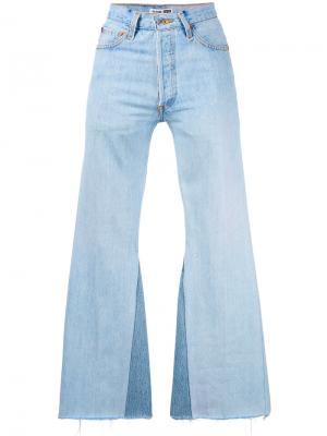 Расклешенные джинсы с необработанными краями Re/Done. Цвет: синий
