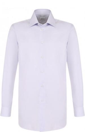 Хлопковая сорочка с воротником кент Brioni. Цвет: светло-сиреневый