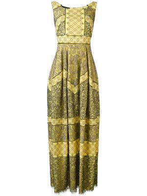 Длинное платье шифт с орнаментом Talbot Runhof. Цвет: жёлтый и оранжевый