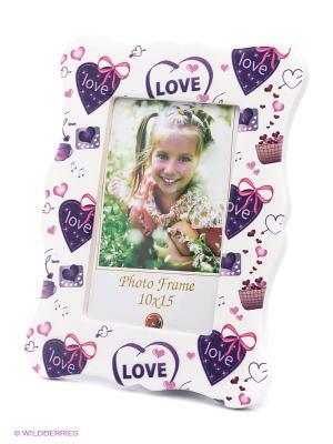Фоторамка Hearts VELD-CO. Цвет: фиолетовый, белый
