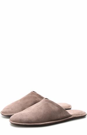 Домашние туфли из замши Homers At Home. Цвет: бежевый
