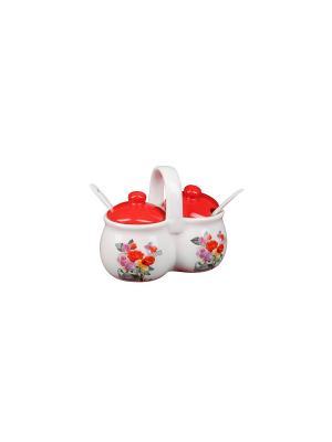 Набор для специй Роза (2 емкости по 170г) в п/у Elff Ceramics. Цвет: белый, красный