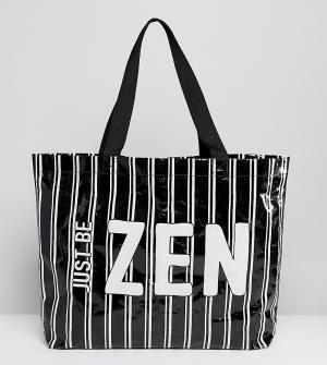 Monki Пляжная сумка в полоску. Цвет: черный