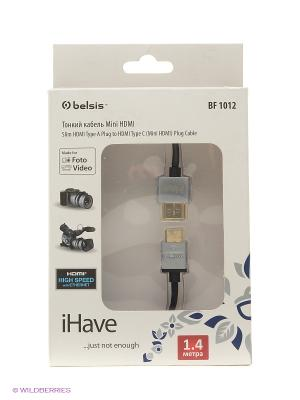 Кабель HDMI A вилка - C (mini HDMI) вилка, супертонкий, High Speed W/E, 1.4 м. iHave. Цвет: серый, черный