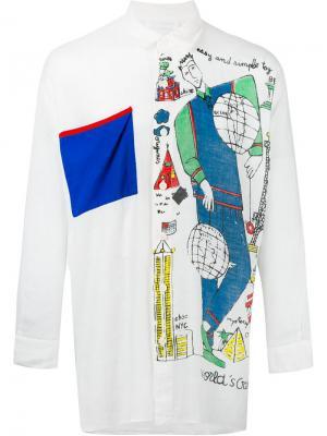 Рубашка с нагрудным карманом Jc De Castelbajac Vintage. Цвет: белый