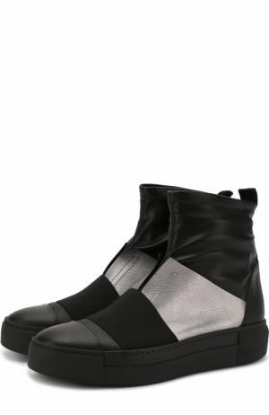 Кожаные ботинки с контрастной отделкой Vic Matie. Цвет: черный