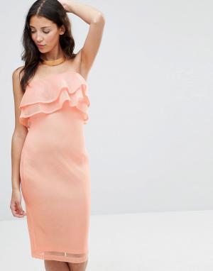 Girl In Mind Облегающее сетчатое платье-бандо миди с оборками India. Цвет: розовый