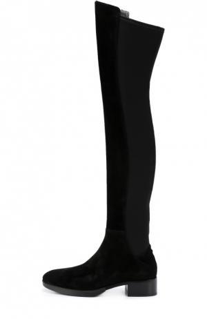 Комбинированные ботфорты на устойчивом каблуке Tory Burch. Цвет: черный