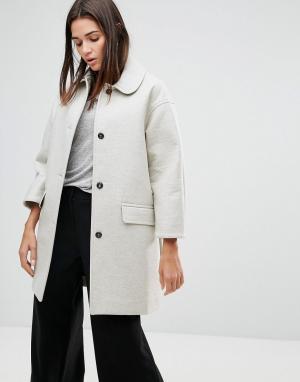 YMC Пальто из неопрена с добавлением шерсти. Цвет: кремовый