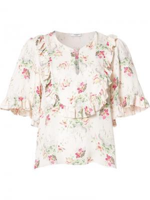 Блузка с цветочным принтом Vilshenko. Цвет: телесный