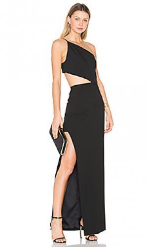 Вечернее платье с асимметричным бандо Michelle Mason. Цвет: черный