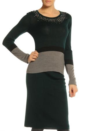 Блуза Elisa Fanti. Цвет: темно-зеленый, серый