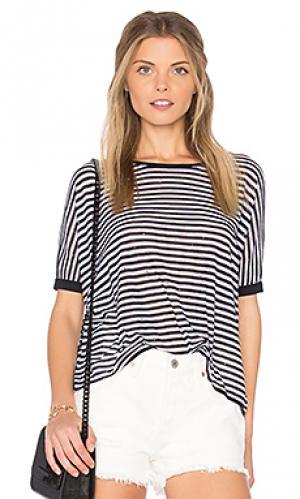 Укороченная рваная футболка в полоску Autumn Cashmere. Цвет: черный
