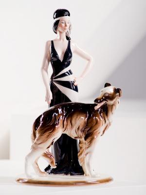 Фигурка Дама с собакой Pavone. Цвет: кремовый, черный