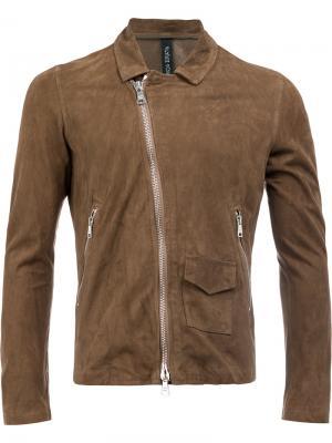 Байкерская куртка на молнии Giorgio Brato. Цвет: коричневый