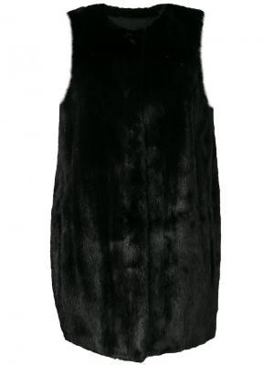 Норковая шуба без рукавов Yves Salomon. Цвет: чёрный