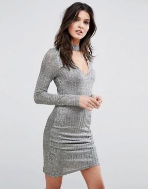Parisian Облегающее платье с длинными рукавами и горловиной-чокером. Цвет: серый