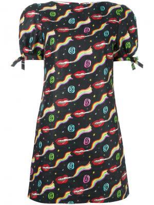 Платье мини с узором Olympia Le-Tan. Цвет: чёрный
