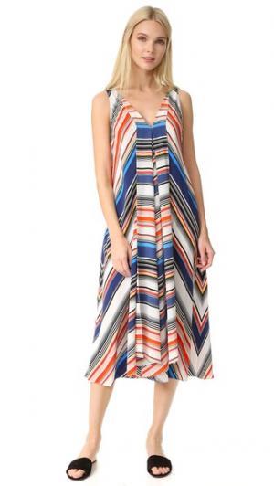Платье в разную полоску Hankerchief EDUN. Цвет: голубой