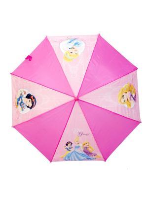 Зонт-трость Disney Princess 46 см, автоматический (открывается автом/закрывается вручную). Цвет: голубой, бледно-розовый, розовый, фуксия