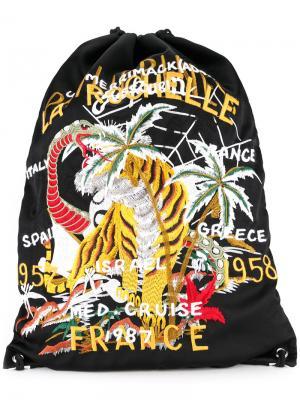 Рюкзак на завязках с вышитым тигром Doublet. Цвет: чёрный