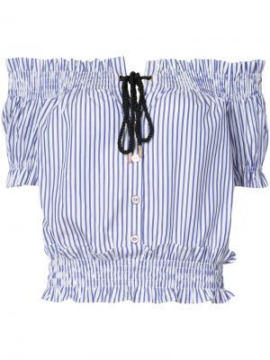 Блузка Peasant Caroline Constas. Цвет: синий