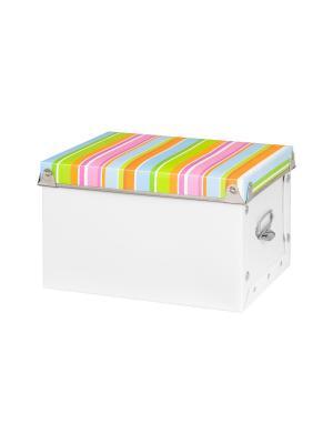 Коробка для хранения Яркие полоски EL CASA. Цвет: оранжевый, голубой, зеленый
