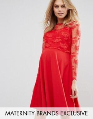 Queen Bee Свободное платье миди с кружевной отделкой. Цвет: красный