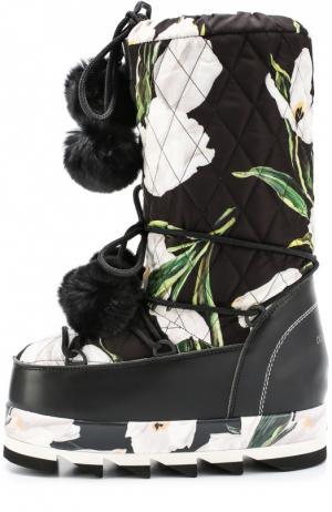 Сапоги-луноходы Cortina с принтом и помпонами Dolce & Gabbana. Цвет: черно-белый