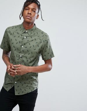 Dead Vintage Рубашка с принтом перьев. Цвет: зеленый
