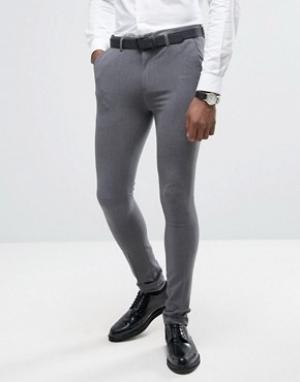 Rogues of London Супероблегающие брюки. Цвет: серый