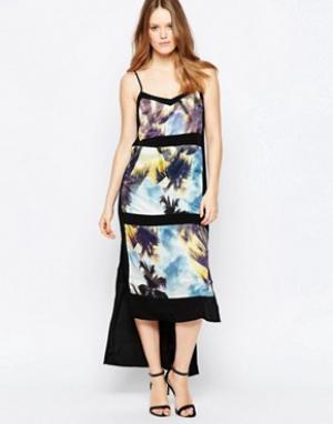 Suboo Платье макси с пальмовым принтом и вставками. Цвет: синий