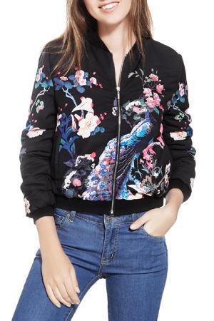 Куртка Nothing but Love. Цвет: черный, ярко-малиново-розовый