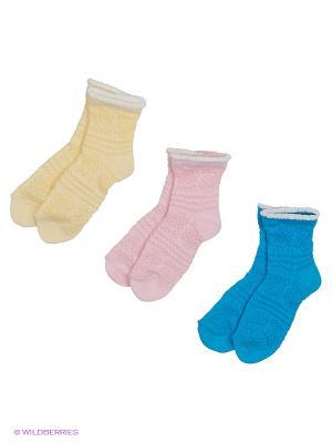 Носки - 3 пары Гамма. Цвет: бирюзовый, желтый, розовый