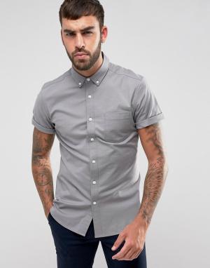 ASOS Серая узкая оксфордская рубашка в стиле casual с короткими рукавами AS. Цвет: серый