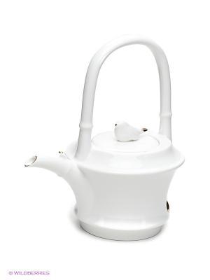 Заварочный чайник Бамбук Pavone. Цвет: белый