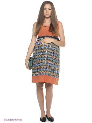 Платье EUROMAMA. Цвет: синий, оранжевый