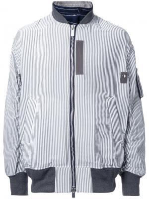 Куртка-бомбер в тонкую полоску Sacai. Цвет: белый