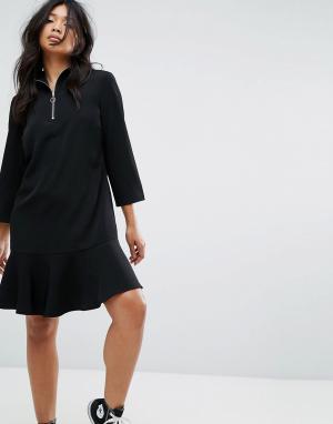 JDY Платье с высоким воротом и молнией кольцом на бегунке. Цвет: черный