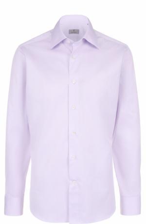 Хлопковая сорочка с воротником кент Canali. Цвет: светло-сиреневый