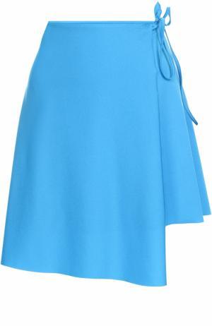 Мини-юбка асимметричного кроя с запахом Balenciaga. Цвет: бирюзовый