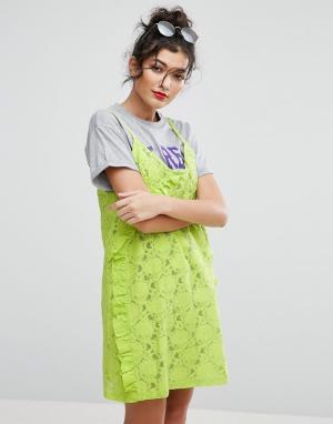 ASOS Пляжное платье-футболка с кружевным верхним слоем на бретельках. Цвет: мульти